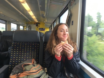 So happy about original Swiss cheese and fresh bread sandwich on the train to Constance